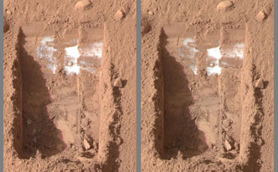sublimation de la glace sur Mars.
